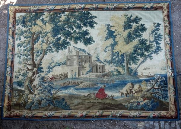 Grande tapisserie d'Aubusson polychrome d'époque Louis XVI d'après Boucher et JJ Dumons 256cm x 358cm