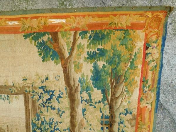 Tapisserie d'Aubusson polychrome, laine et soie : la perte de l'innocence, époque Louis XVI - 208cm x 305cm