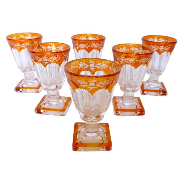 6 verres à liqueur en cristal de Baccarat overlay orange époque Napoléon III - milieu XIXe