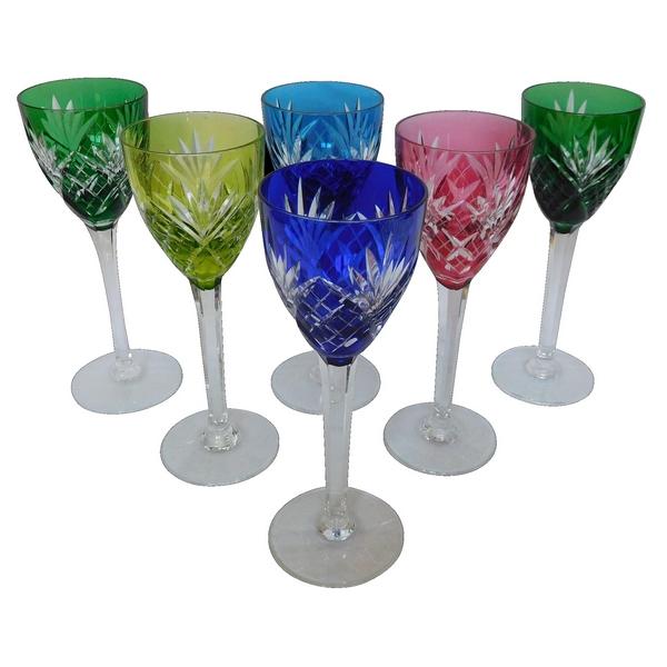 6 verres à vin du Rhin en cristal de St Louis overlay, modèle Chantilly - signés