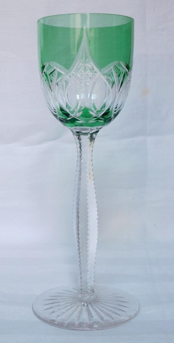 8 rares verres vin du rhin en cristal de baccarat overlay vert. Black Bedroom Furniture Sets. Home Design Ideas