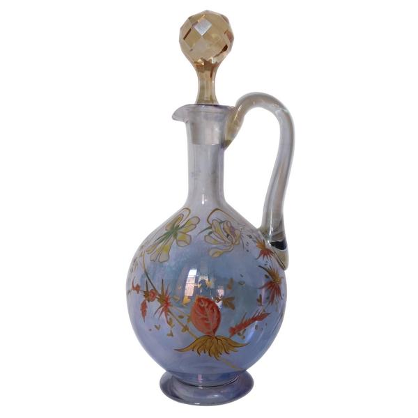 Aiguière / carafe à vin en cristal de Baccarat irisé, doré et émaillé
