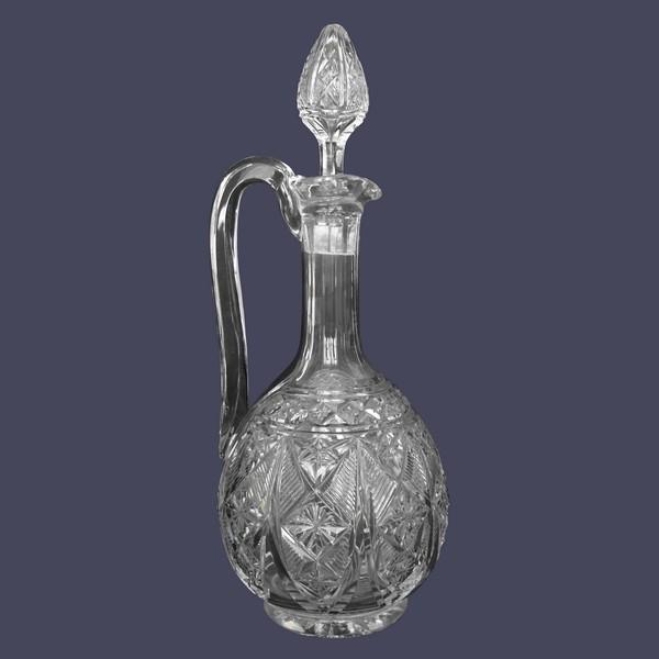 Aiguière carafe à anse en cristal de Baccarat finement taillé forme 9056 - étiquette papier