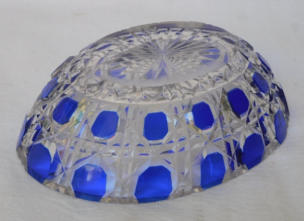 Porte-savon en cristal de Baccarat, modèle Diamants Pierreries doublé bleu