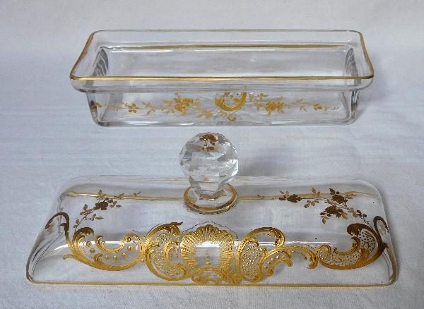 Boîte à brosses en cristal de Baccarat, modèle Louis XV rehaussé à l'or fin