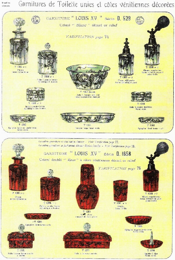 Flacon à parfum en cristal de Baccarat, modèle Louis XV rehaussé à l'or fin - 14cm