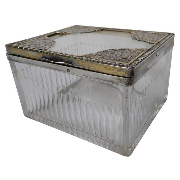 Boîte à biscuits ou bonbons en cristal, argent massif et vermeil, poinçon Minerve, par Risler & Carré