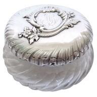 Boîte à poudre en cristal de Baccarat, argent massif, poinçon Minerve, par Henri Soufflot