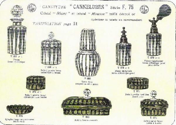 Boîte à poudre en cristal de Baccarat, modèle Cannelures réhaussé de filets or