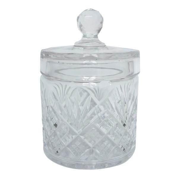 Grande boîte à poudre en cristal de Baccarat, cristal taillé à palmettes