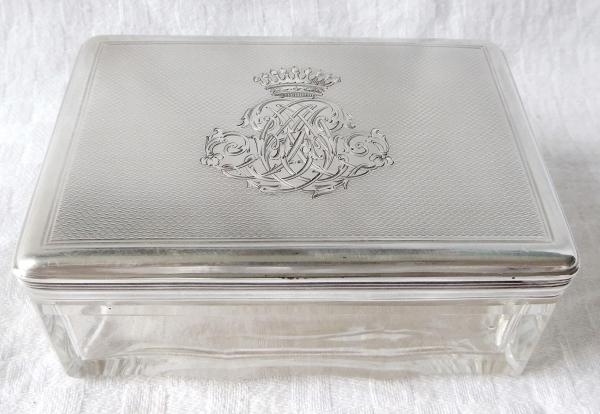 Boite en argent, vermeil et cristal à couronne de Comte, poinçon Minerve