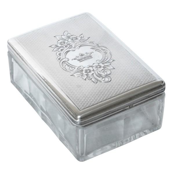 Boîte rectangulaire en cristal et argent massif guilloché, couronne de Marquis, vers 1860
