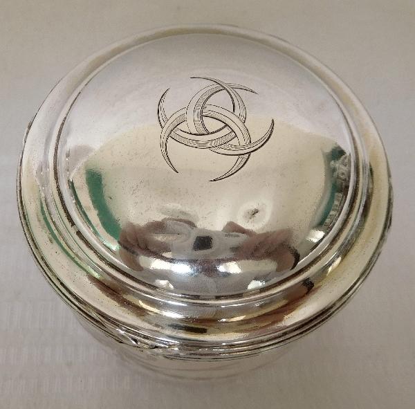 Boîte à poudre en cristal de Baccarat et argent massif, famille d'Orléans 3 croissants