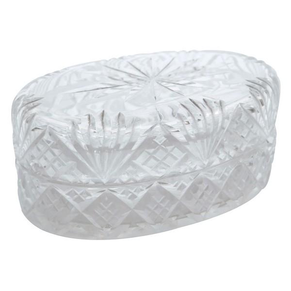 Boîte à savon en cristal de Baccarat, cristal taillé à palmettes
