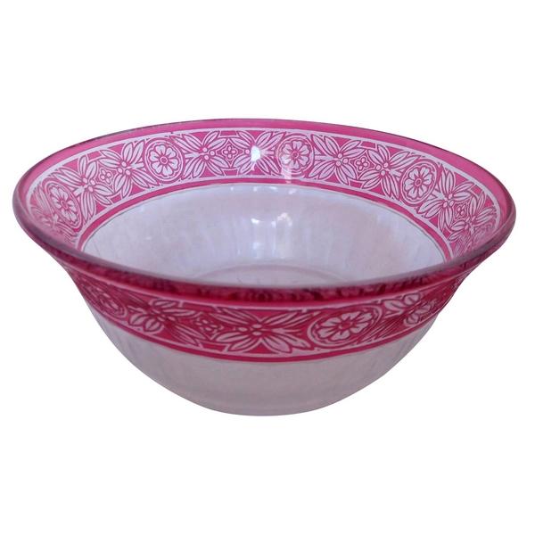 Jatte ou saladier en cristal de Baccarat overlay rose, modèle Empire