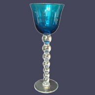 Verre à vin du Rhin - Roemer - en cristal de St Louis, modèle Bubbles bleu turquoise NEUF