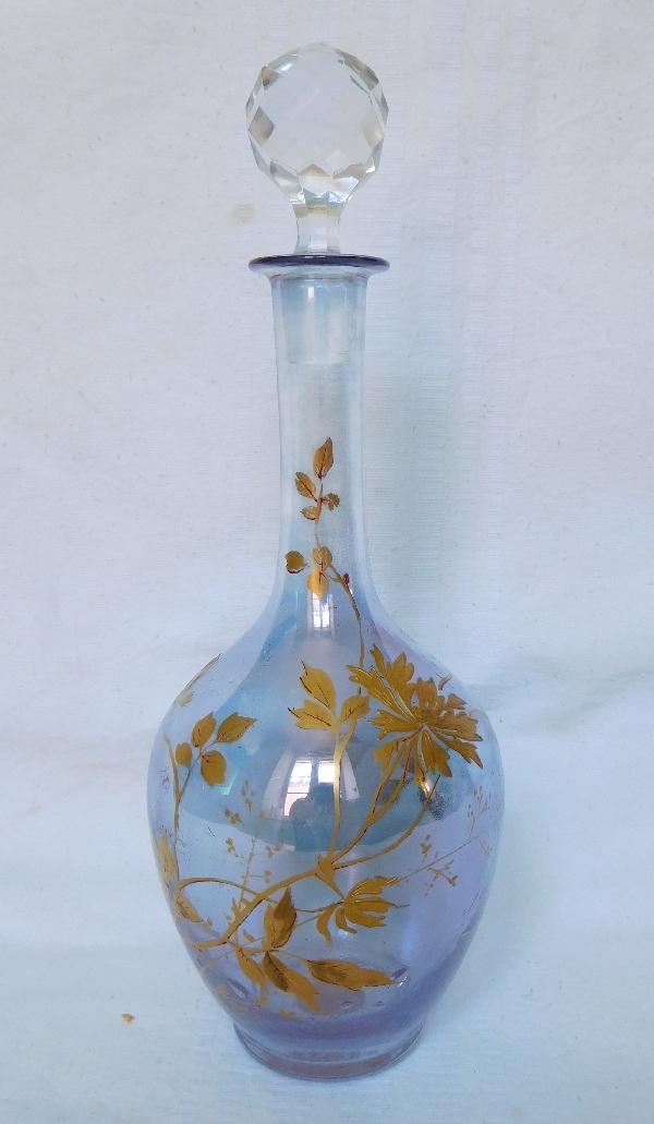 Carafe à liqueur en cristal de Baccarat, cristal irisé bleu doré à l'or fin