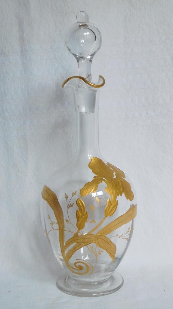 Carafe à liqueur en cristal de Baccarat rehaussé à l'or fin, époque Art Nouveau