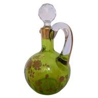 Carafe à liqueur en cristal de Baccarat vert chartreuse rehaussé à l'or fin