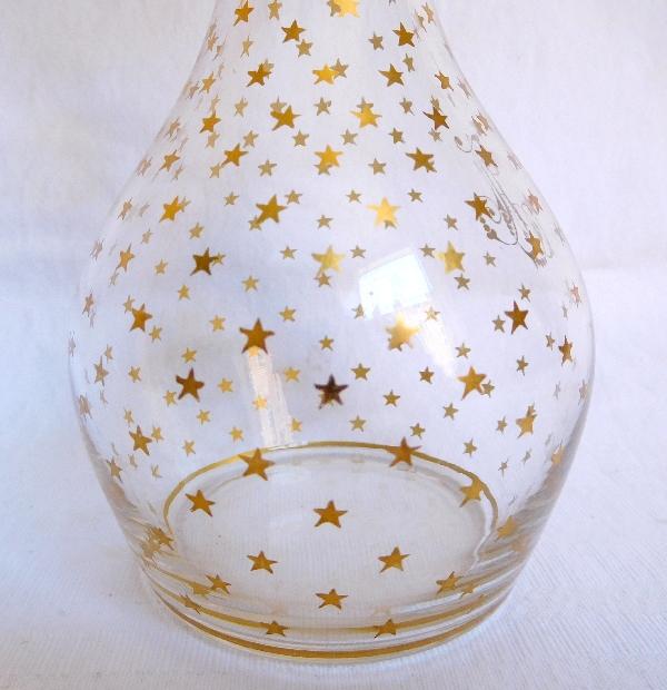 Carafe à liqueur en cristal de Baccarat doré à l'or fin, motif étoilé, monogramme JA