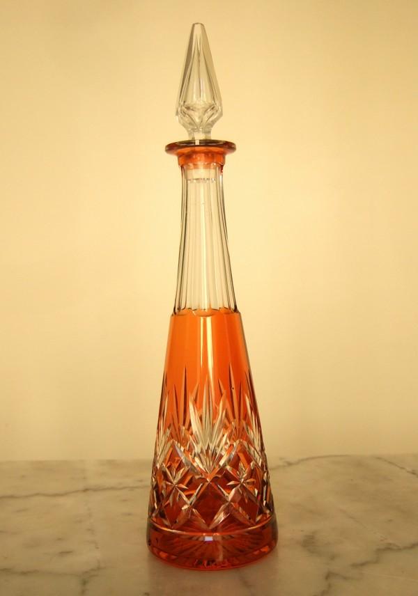carafe liqueur en cristal de st louis cristal overlay orange mod le massenet. Black Bedroom Furniture Sets. Home Design Ideas