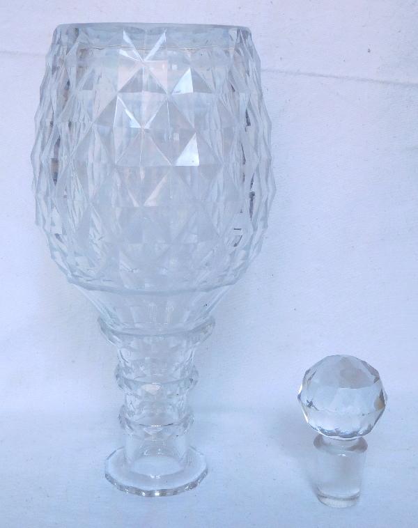 Carafe à vin / flacon à whisky en cristal, Le Creusot ou Baccarat époque Restauration 1820 - 1830
