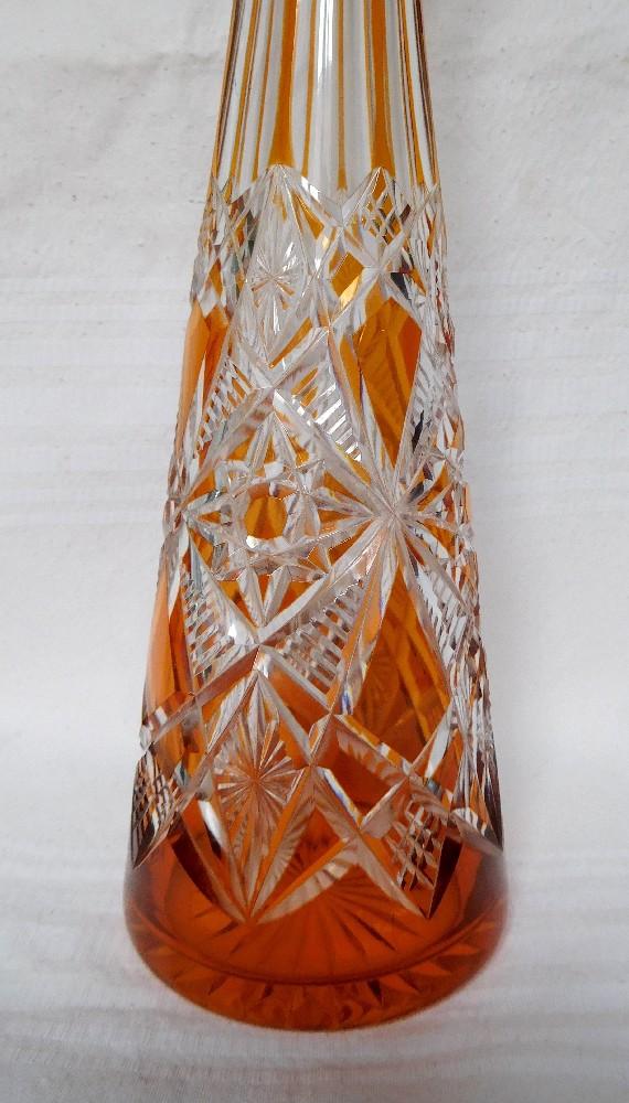 Carafe à liqueur en cristal de Baccarat overlay orange, modèle Lagny