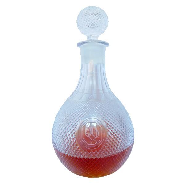 Carafe à vin / flacon à whisky en cristal du Creusot finement taillé vers 1830