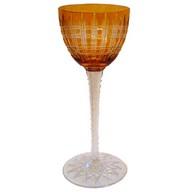 Verre à vin du Rhin en cristal de Baccarat, modèle Cavour, orange overlay