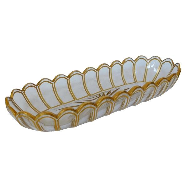 Coupe à brosse en cristal de Baccarat, modèle Cannelures réhaussé de filets or