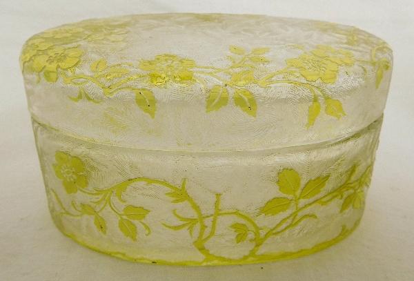 Grande boîte à poudre ovale en cristal de Baccarat, modèle Eglantier vert chartreuse
