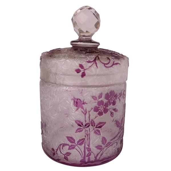 Boîte à poudre en cristal de Baccarat, modèle Eglantier violet - étiquette papier
