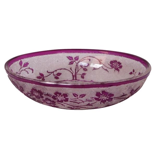 Porte-savon en cristal de Baccarat, modèle Eglantier violet