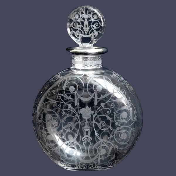 Flacon à parfum en cristal de Baccarat, modèle Michelangelo, cerclage argent massif - 13cm