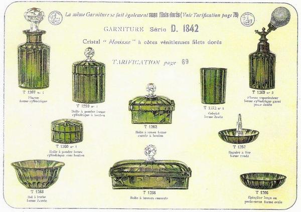 Grand flacon de toilette en cristal de Baccarat vert chartreuse à côtes vénitiennes - 19,5cm