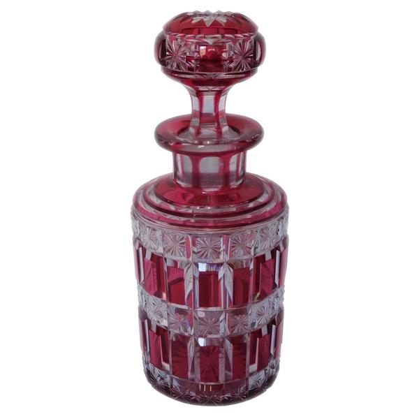 Grand flacon en cristal de Baccarat, modèle Diamants étoilés overlay rose