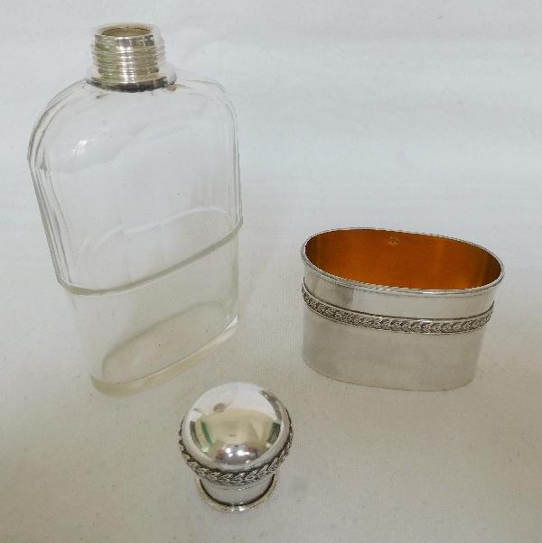 Flasque à alcool de voyage ou de chasse en cristal et argent massif