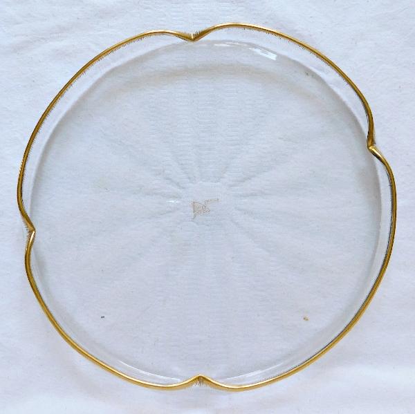 Grand plateau en cristal de Daum doré à côtes vénitiennes, vers 1900 - signé