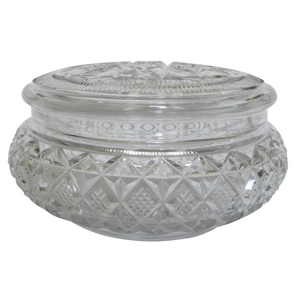 Bonbonnière en cristal de Baccarat richement taillé, Etiquette papier