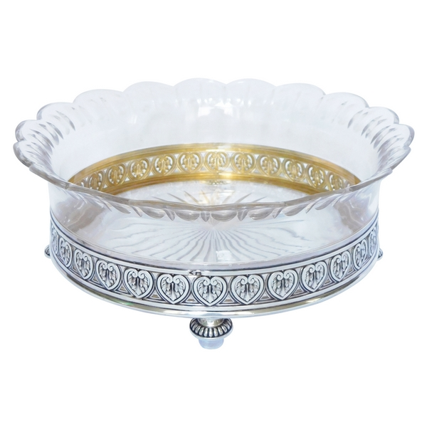 Jardinière de style Louis XVI en cristal de Baccarat, argent massif et vermeil, poinçon Minerve