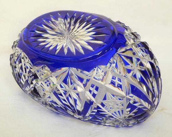 Jardinière en cristal de Saint Louis, cristal overlay bleu cobalt