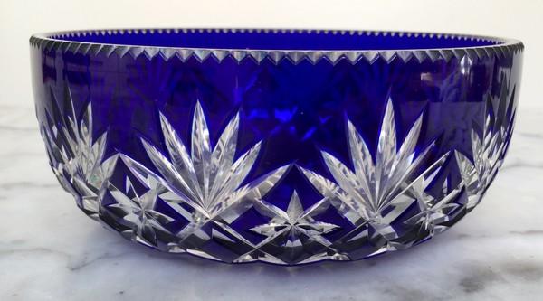coupe ou jatte en cristal taill de st louis overlay bleu cobalt mod le massenet. Black Bedroom Furniture Sets. Home Design Ideas