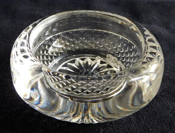 Paire de salerons / salières en cristal de Baccarat à pointes de diamants - signés