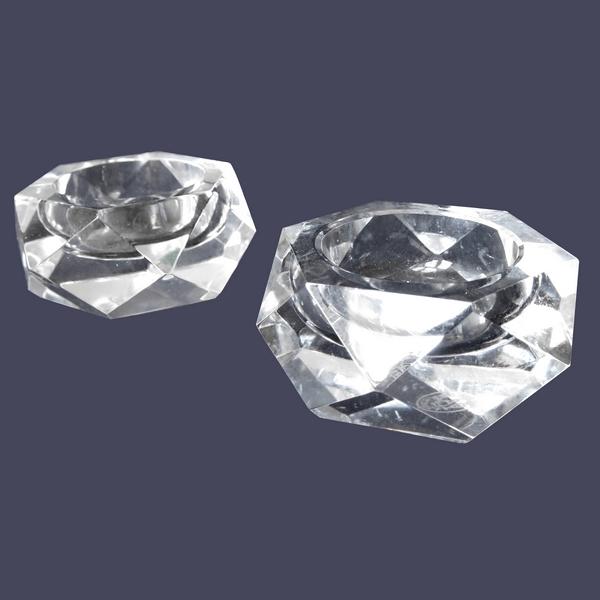 Paire de salières / salerons hexagonaux en cristal de Baccarat - signés