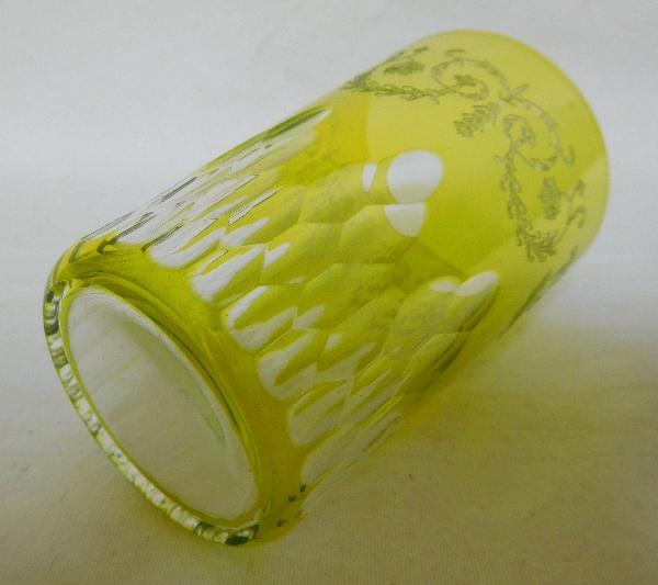 Paire de verres à dents en cristal de Baccarat, modèle Richelieu overlay vert, - signés