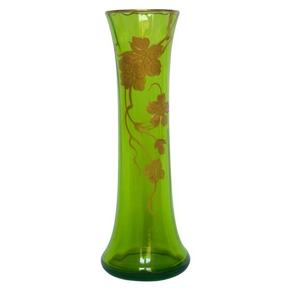 Vase soliflore en cristal de Baccarat vert doré à l'or fin