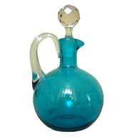 Rare carafe à liqueur en cristal de Baccarat forme boule bleu turquoise