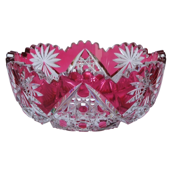 Coupe, jatte ou vide-poche en cristal de Baccarat overlay rose