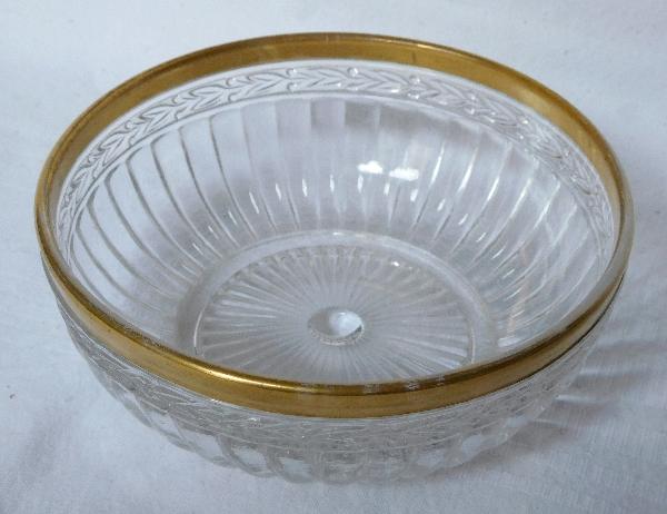 Petite coupe ou jatte en cristal de Saint Louis, modèle aux Lauriers rehaussé à l'or fin