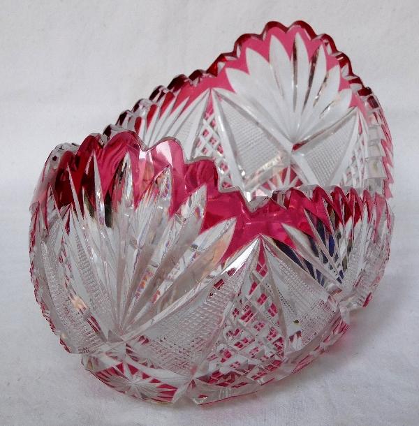 Jardinière en cristal de Saint Louis, cristal overlay rose